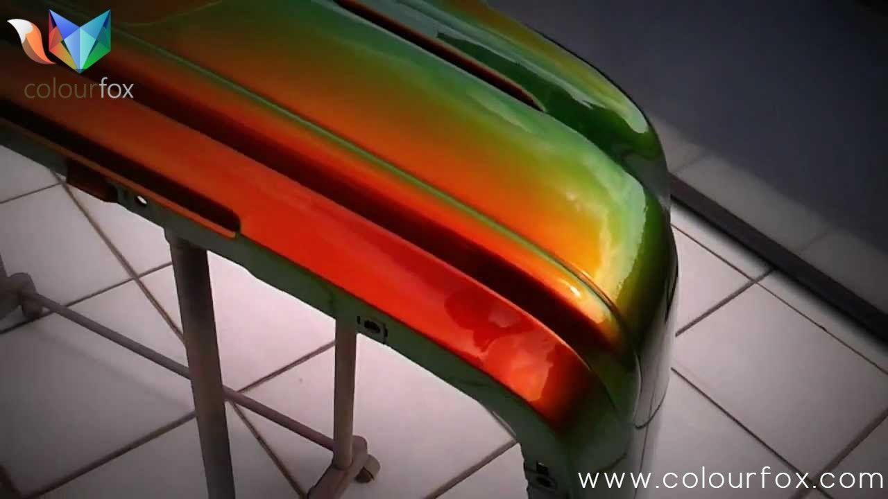 Pieza de coche con pintura Camaleón Extremo Star | Fire Orange Green